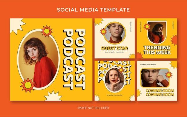 Шаблон брендинга в социальных сетях instagram для подкаста в стиле ретро