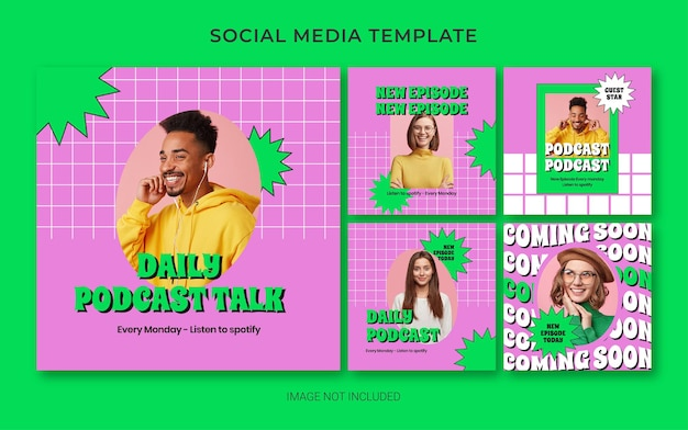 Instagram social media branding template for podcast with retro style