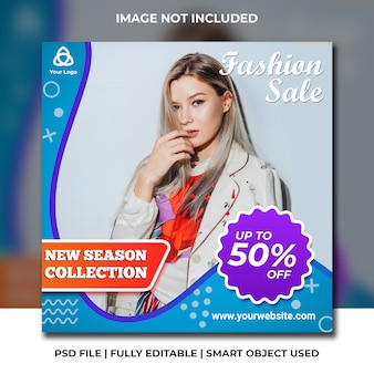 Instagram social media fashion discount post abstract blue template