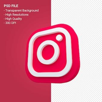 3dレンダリングのinstagramソーシャルメディアロゴ