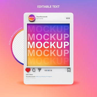 Instagram social media mockup 3d isolate