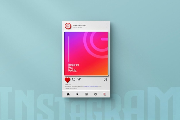 Instagramソーシャルメディア投稿モックアップ3dレンダリングされたインターフェイスが分離されました