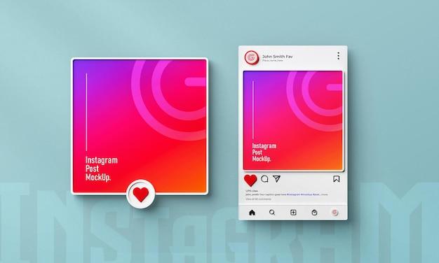 Изолированный макет поста в социальных сетях instagram