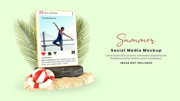 해변에서 여름 시즌을위한 instagram 소셜 미디어 게시물 모형
