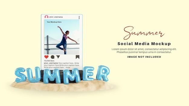 Макет публикации в социальных сетях instagram для летнего сезона на пляже