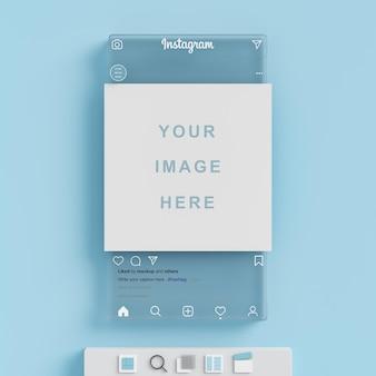 파란색 배경 3d 렌더링에 instagram 소셜 미디어 게시물 모형