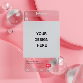 Макет публикации в социальных сетях instagram на персиковом фоне для презентации фида 3d рендеринга