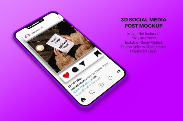 Макет публикации в социальных сетях instagram со смартфоном в 3d стиле