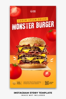 Instagram stories banner template for restaurant fastfood menu big burger