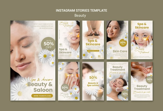 Instagram stories for beauty and spa with woman and chamomile flowers