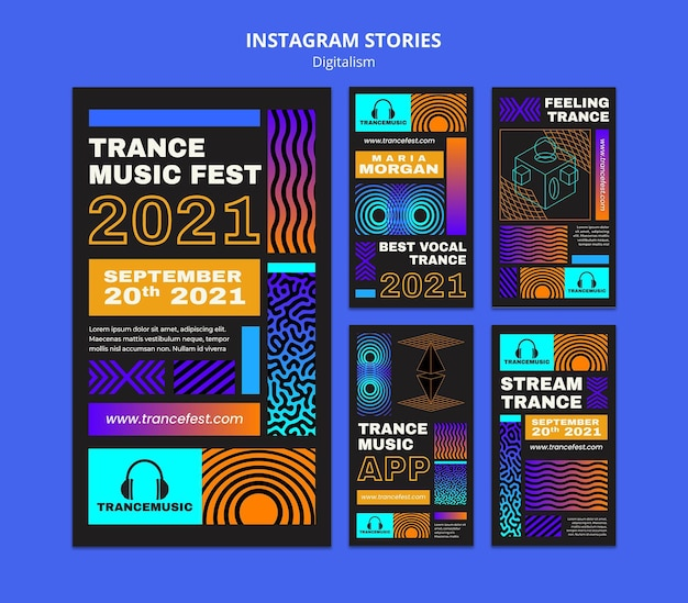 Instagram stories collection for 2021 trance music fest