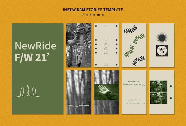 Raccolta di storie di instagram per l'avventura autunnale nella foresta Psd Gratuite