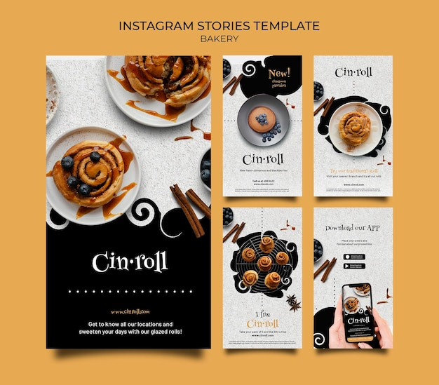 Instagram stories collection for bakery shop
