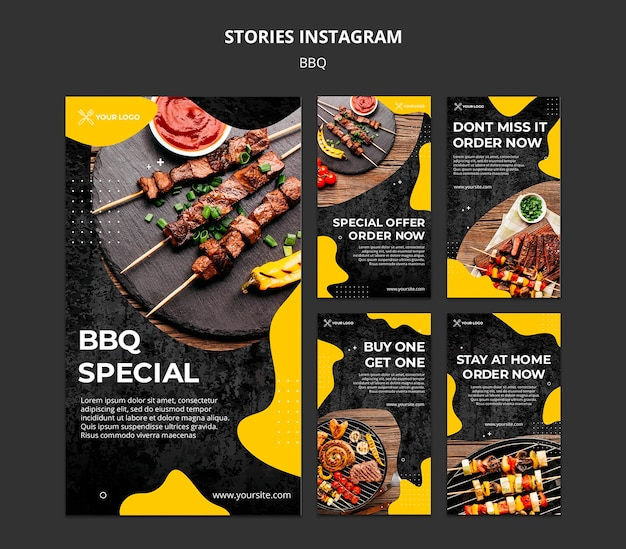 Instagram stories collection for barbecue restaurant