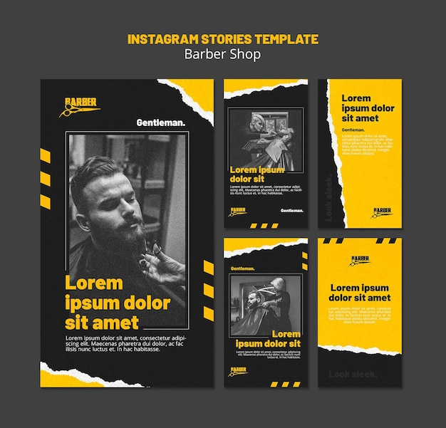 Instagram stories collection for barber shop business