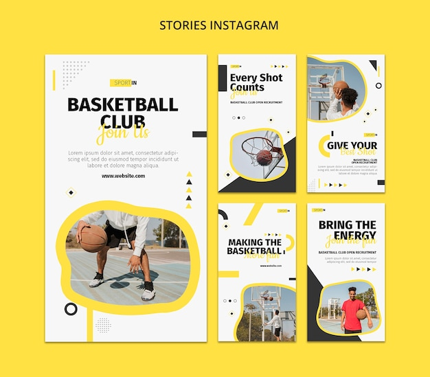 Instagram stories collection for basketball club