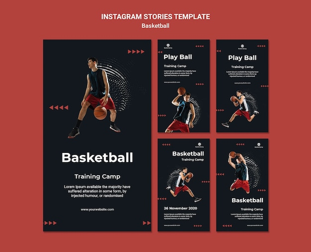 Instagram stories collection for basketball training camp