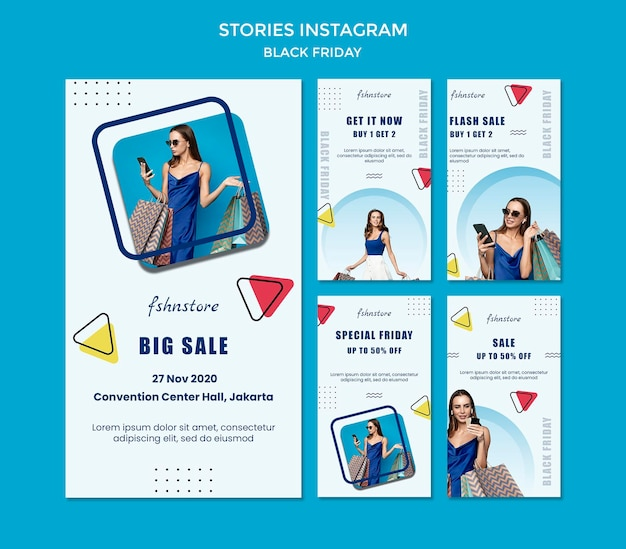 Instagram stories collection for black friday with woman and triangles