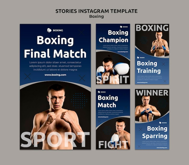 Instagram stories collection for boxing sport with male boxer