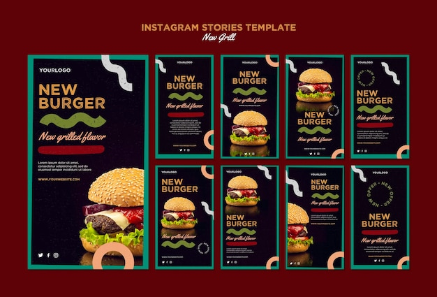 Instagram stories collection for burger restaurant