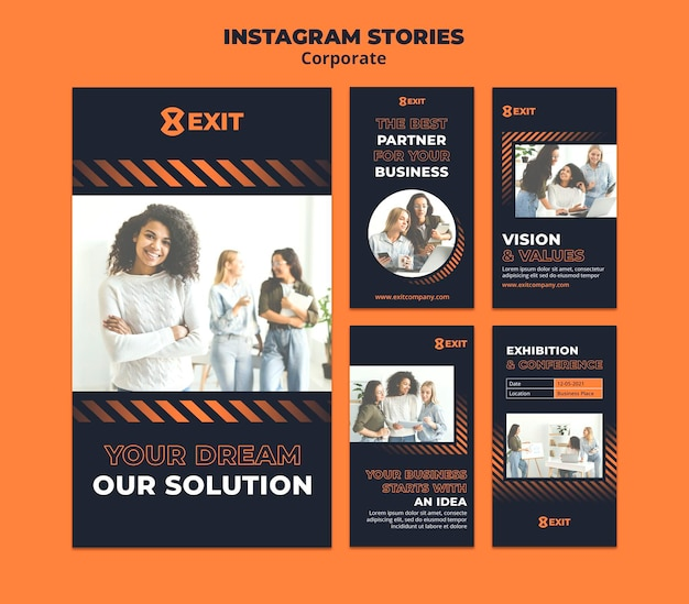 Instagram stories collection for business corporation
