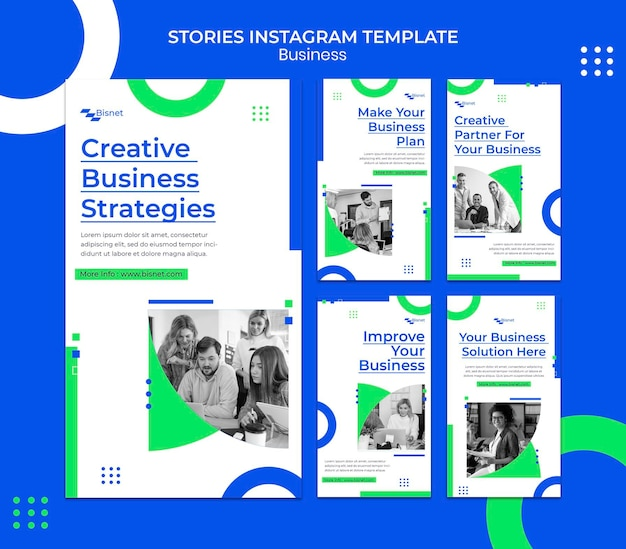 Instagram stories collection for business solution with monochrome photo