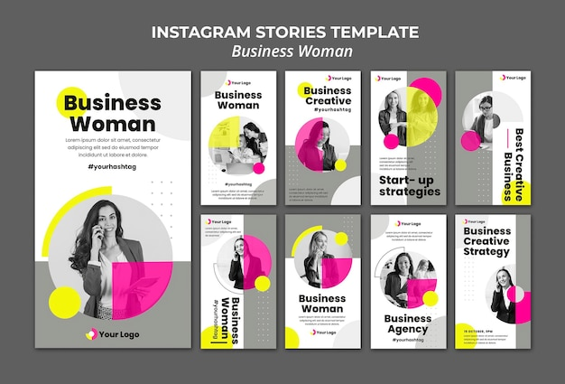 Instagram stories collection for businesswoman