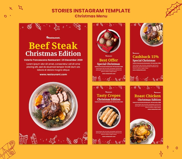 Instagram stories collection for christmas food restaurant