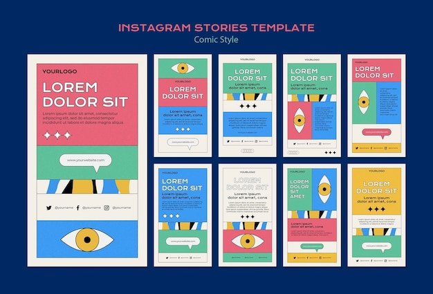 Instagram stories collection in comic style