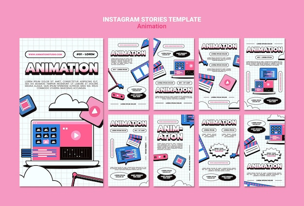 Instagram stories collection for computer animation