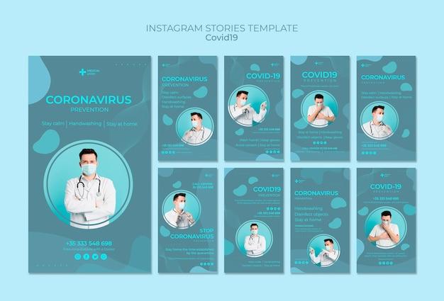 Raccolta di storie su instagram per la prevenzione del coronavirus