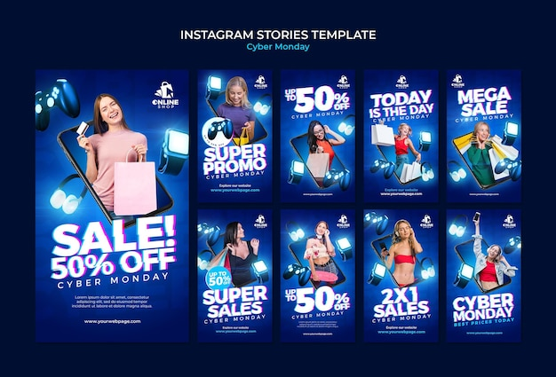 Instagram stories collection for cyber monday with woman and items