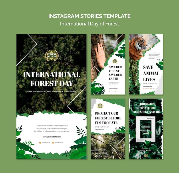 Instagram stories collection for day of forest with nature