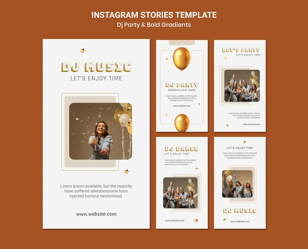 Instagram stories collection for dj party with people and balloons