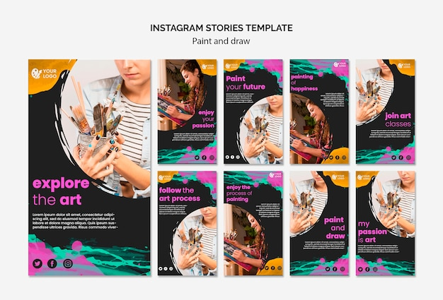 Instagram stories collection for drawing and painting artists