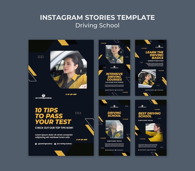 Instagram stories collection for driving school with female driver