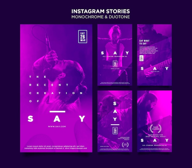 Instagram stories collection in duotone with musicians in concert