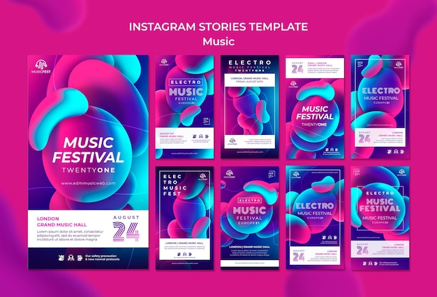 Instagram stories collection for electro music festival with neon liquid effect shapes