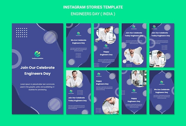 Instagram stories collection for engineers day celebration