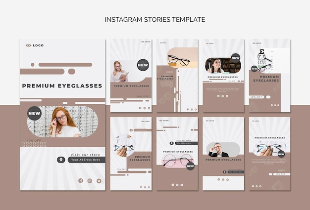 Instagram stories collection for eye glasses company Premium Psd