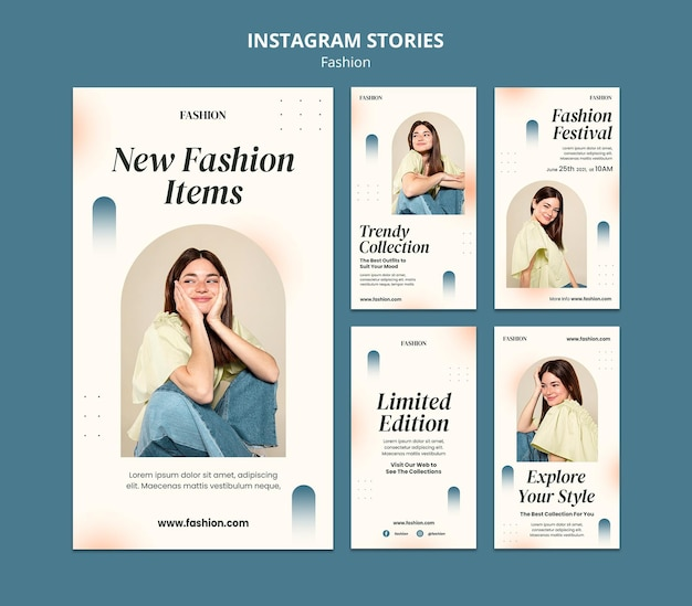 Instagram stories collection for fashion style and clothing with woman
