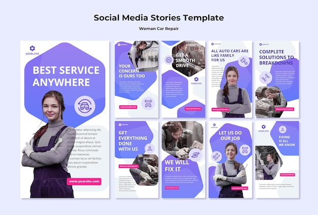 Instagram stories collection for female auto mechanic Premium Psd