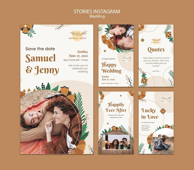 Instagram stories collection for floral wedding with leaves and couple
