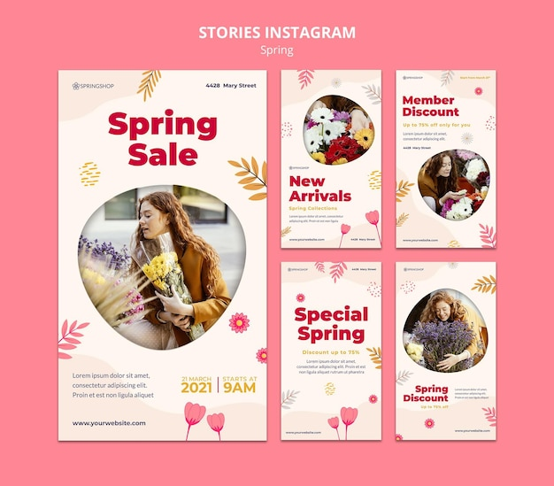 Instagram stories collection for flower shop with spring flowers