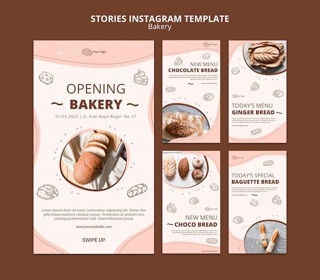 Коллекция историй из инстаграм для бизнеса пекарни