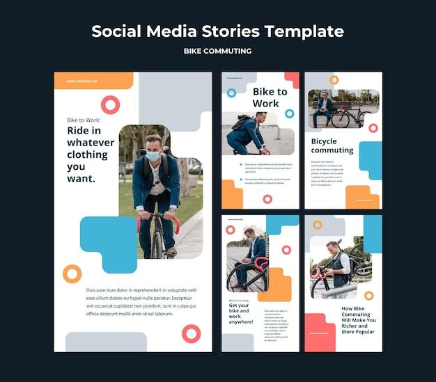 男性の乗客と自転車通勤のためのinstagramストーリーコレクション