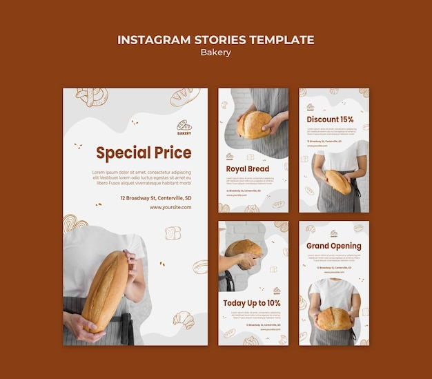 Коллекция историй из инстаграм для хлебопекарного цеха