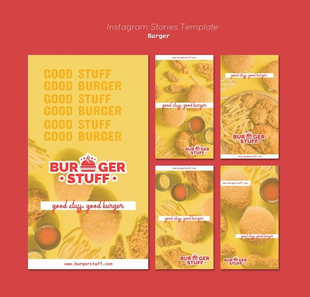 Коллекция историй из инстаграм для бургерного ресторана