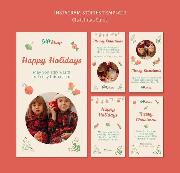 子供とのクリスマスセールのためのinstagramストーリーコレクション
