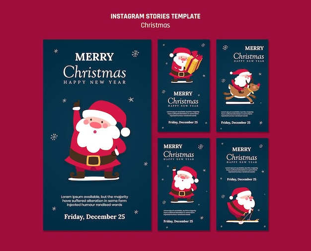 サンタクロースとクリスマスのinstagramストーリーコレクション